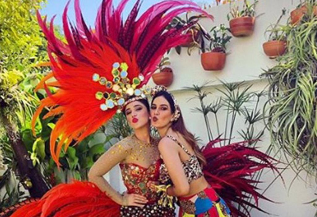 La exreina del Carnaval de Barranquilla, Andrea Jaramillo Char y la presentadora Catalina Robayo.